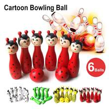 8Pcs/Set Lovely Mini Cartoon Wooden Bowling Ball Skittle Game Cute Animal Shape For Kids Children Toys 11.5x2.8cm 4Color(China)