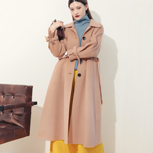 Womens cashmere coat double-sided high-end doll collar long loose woolen overcoat windbreaker Mh9058