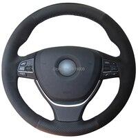 For BMW F10 2014 520i 528i 2013 14 730Li 740Li 750Li Hand stitched Anti Slip Black Suede Leather DIY Steering Wheel Cover