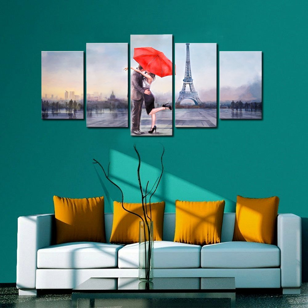 Holiday Gift Canvas Prints Love in Paris 5 Panels Oil Painting Print Wall Art Stretched and Framed Home Decor Modular Pictures in Painting Calligraphy from Home Garden