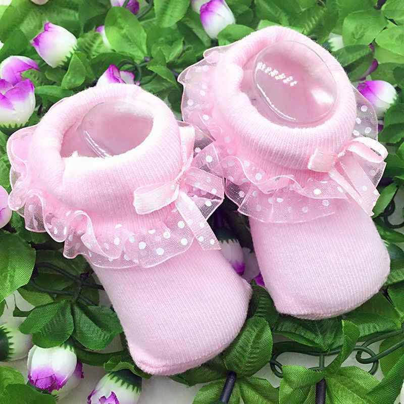 Novedad de 2019, calcetines de algodón con volantes y encaje de 0 a 12M para recién nacidos, calcetines cálidos de encaje con lazo de lunares, calcetín con volantes en 3 colores