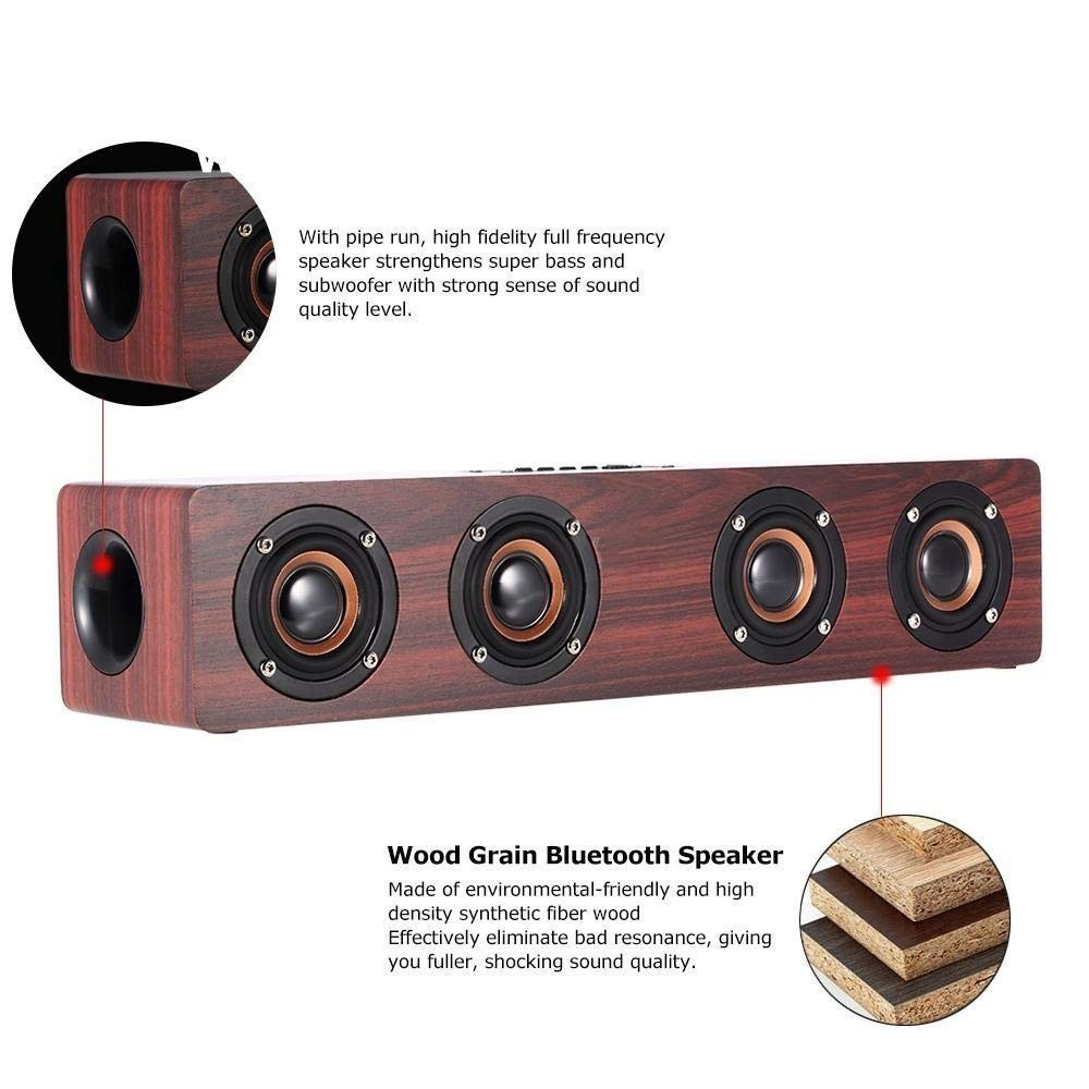 Image 3 - Wireless Bluetooth Speaker 12W Portable Subwoofer Wooden Home Audio Support TF FM Column Speakers For Outdoor PC Phones-in Portable Speakers from Consumer Electronics