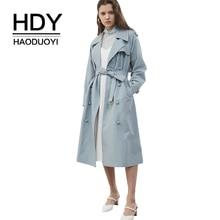 HDY Haoduoyi весна осень однотонный двубортный тренч плащ с поясом на классический голубой верхняя одежда пальто для женщи деловой стиль водонепроницаемый плащ отложной воротник повседневный длинный верхняя одежд