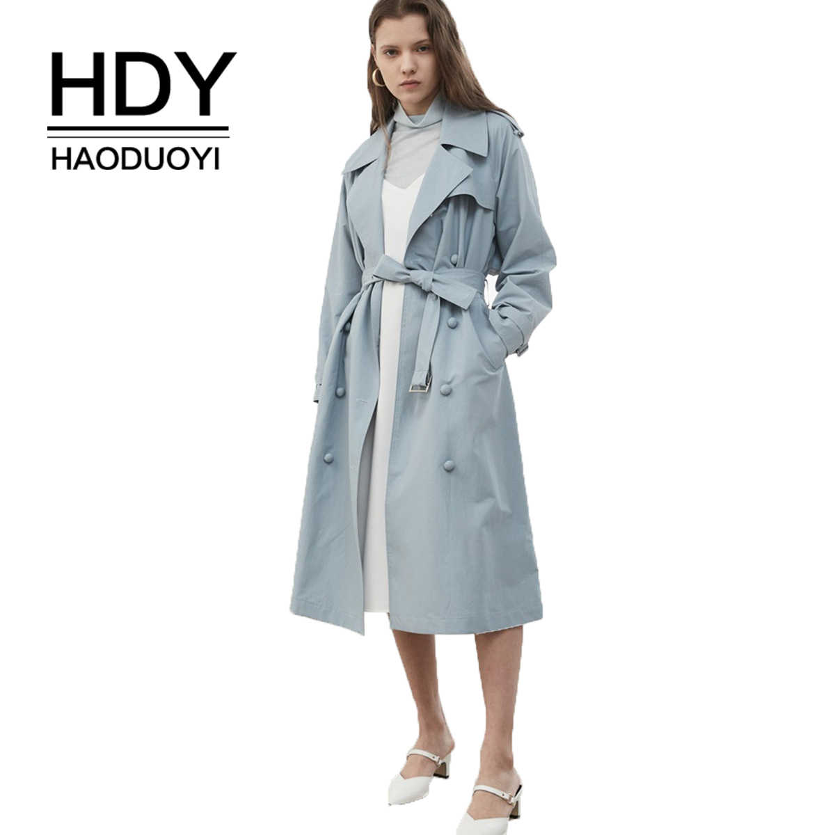 HDY Haoduoyi ผู้หญิงลำลอง Double Breasted Outwear Sashes Office Coat Chic Epaulet Design เสื้อโค้ทยาวฤดูใบไม้ร่วง