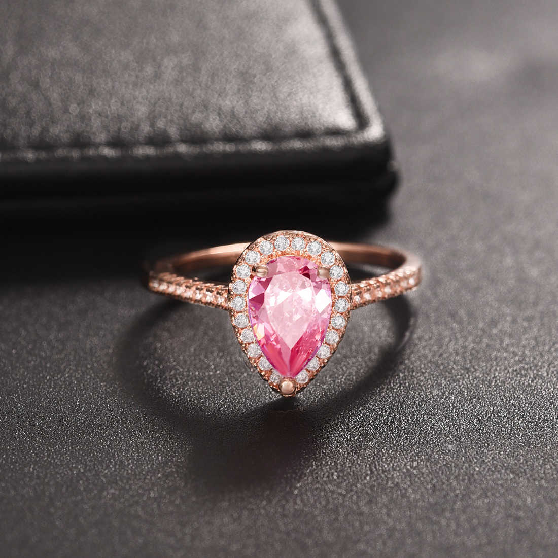 2019 แฟชั่นสีชมพู Zircon แหวน Rose Gold แหวน