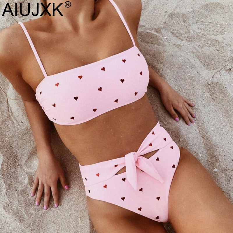 AIUJXK New Fashion Heart Print Bandage Biquini Women Sexy Underwear   Bra     Set   Ladies High Waist Lingerie Pink 2 Piece Swimsuit