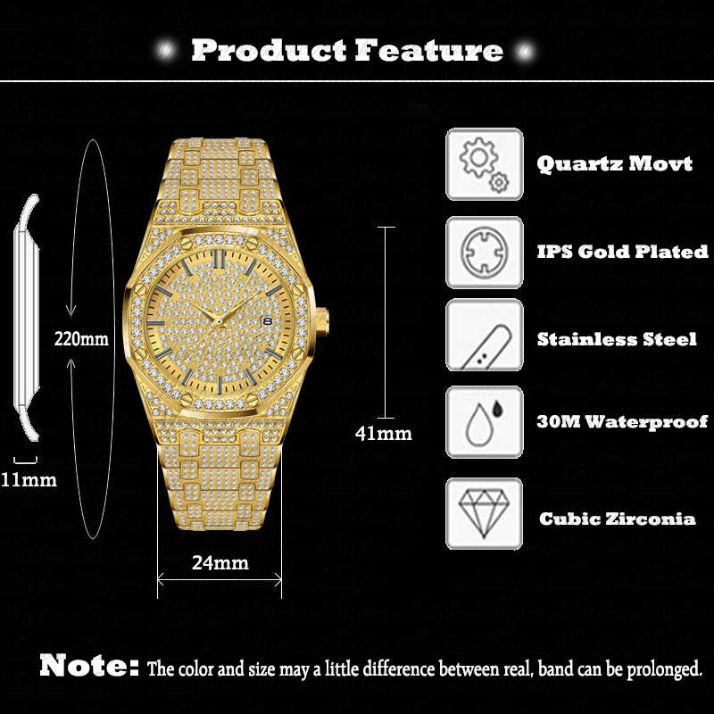 18 K זהב שעון גברים יוקרה מותג יהלומים Mens שעונים למעלה מותג יוקרה FF אייס מתוך זכר קוורץ שעון לוח שנה ייחודי מתנה עבור גברים