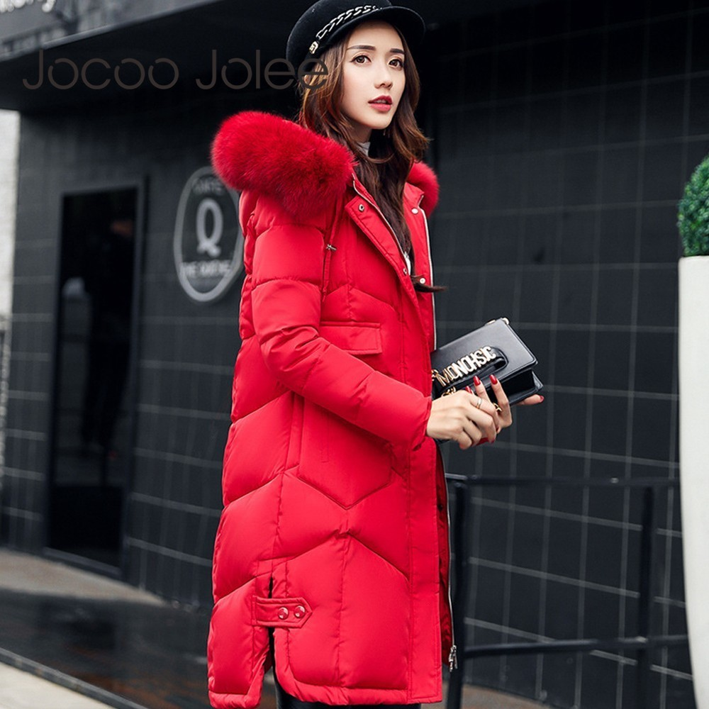 Jocoo Jolee Winter Women Hooded Coat Fur Collar Thicken Warm Long Jacket Coat Girls Long Slim Big Fur Coat Jacket Down   Parka