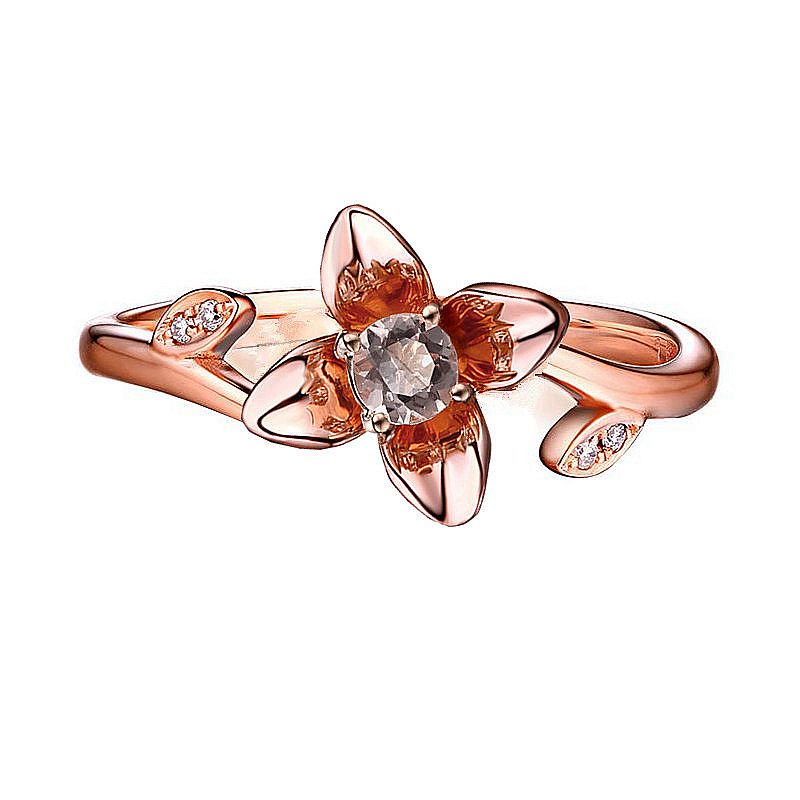 Solid 14k Rose Gold Ring 4.5MM Round Cut Natural Morganite Diamonds Engagement Ring for Women Flower Fine Jewelry Cute RomanticSolid 14k Rose Gold Ring 4.5MM Round Cut Natural Morganite Diamonds Engagement Ring for Women Flower Fine Jewelry Cute Romantic