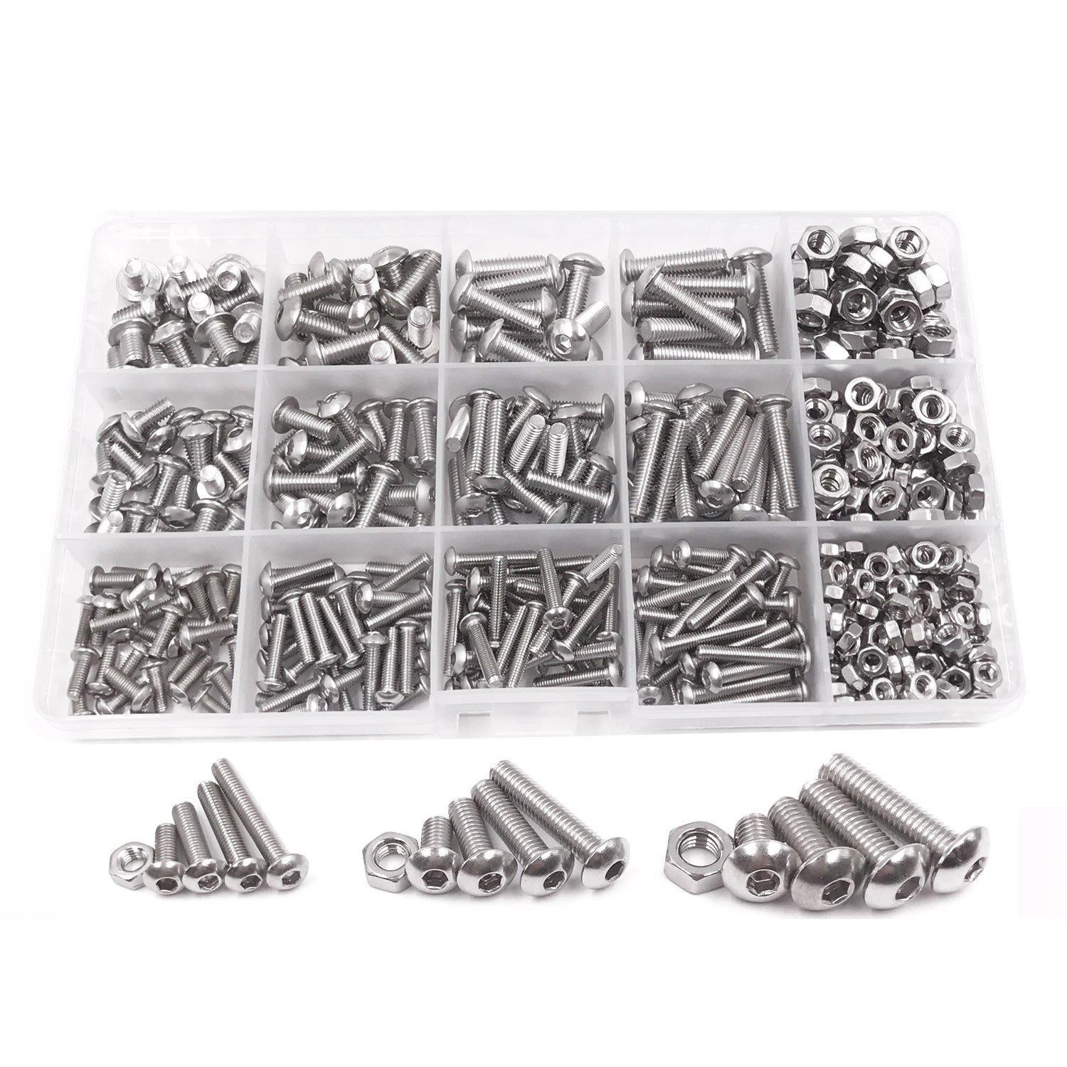 CNIM Hot 500pcs M3 M4 M5 A2 Stainless Steel ISO7380 Button Head Hex Bolts Hexagon Socket Screws With Nuts Assortment Kit
