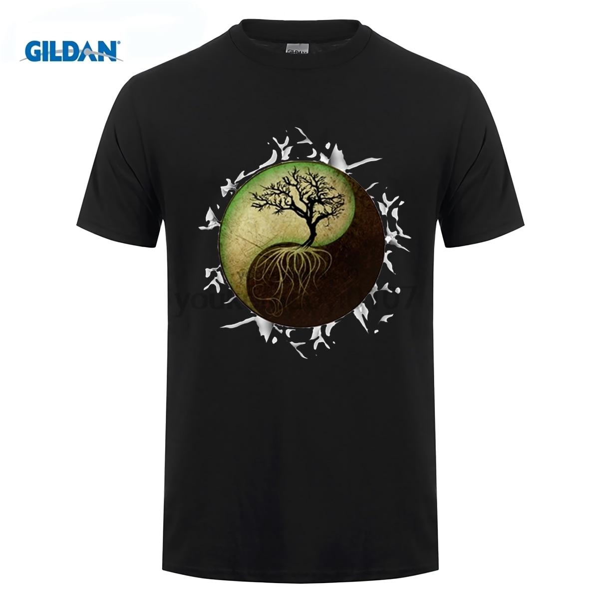 gildan Fashion Yin Yang Tree Design Men T-shirt Short Sleeve Customized t shirts Vintage Printed Cool Hipster tee Shirts