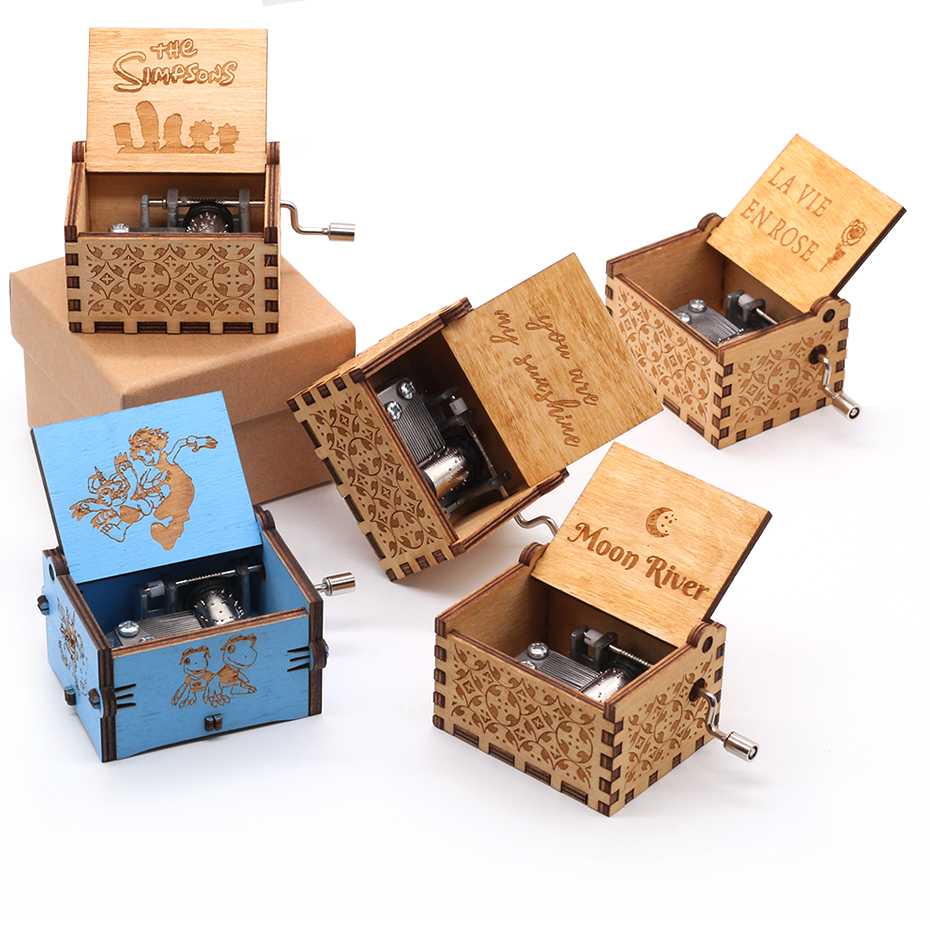 Star War Movie theme Hand Crank wooden Music Box Moon river Game of Thrones Music Box Digimon Birthday Present Gift image