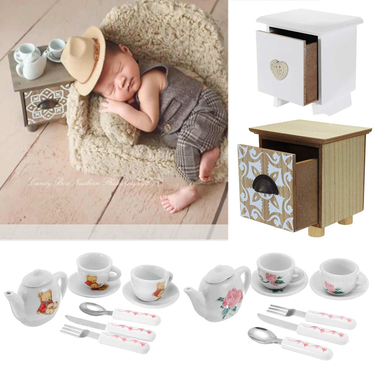 Newborn Baby Photography Props Accessories Coffee Table Tea Cup Posing Costume Props for Infant Baby Photo Shooting Accessories end table