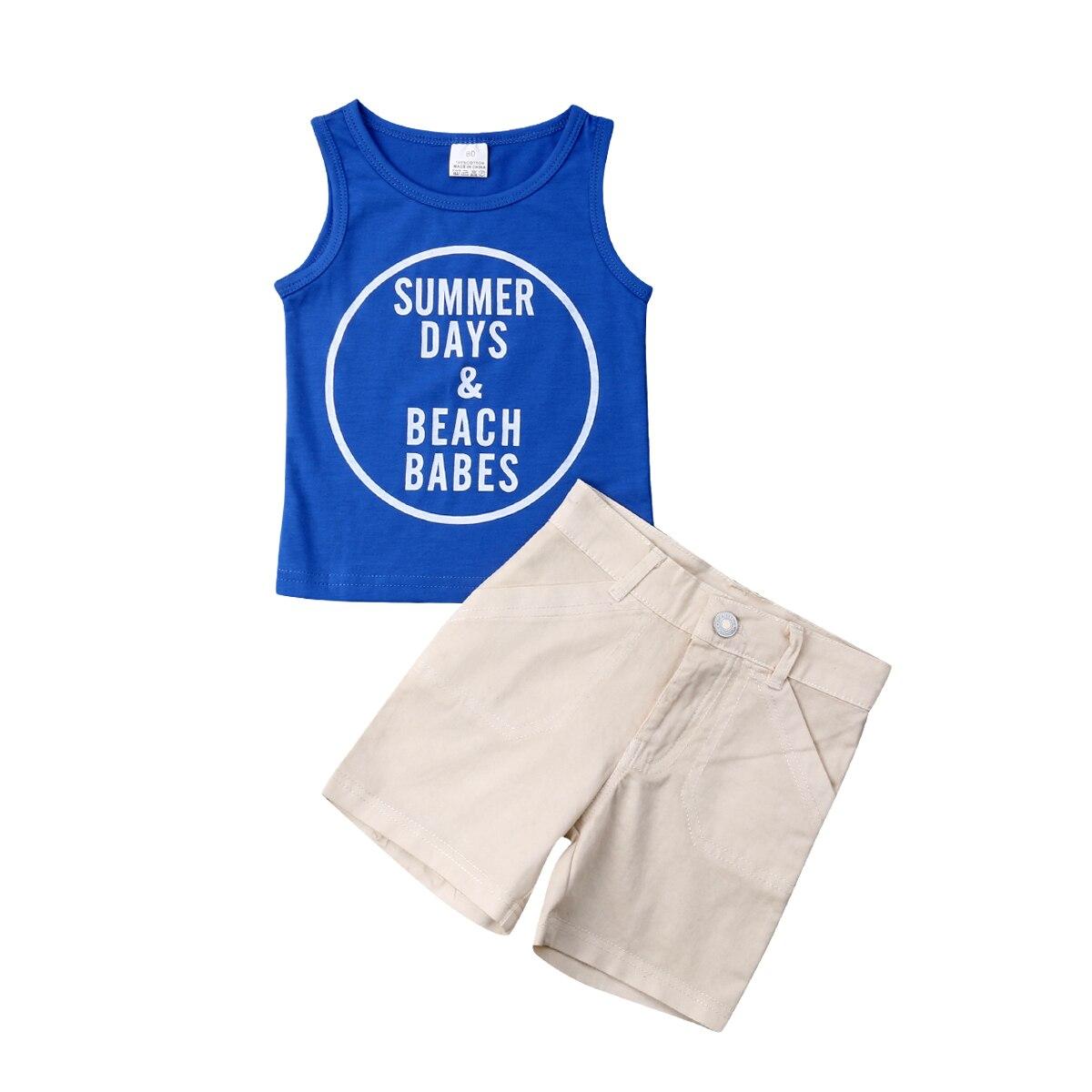 2 Pcs Kleinkind Kind Baby Jungen Kleidung Set Blau Brief Weste T-shirt Tops + Shorts Casual Outfits Kind Jungen Strand Kleidung