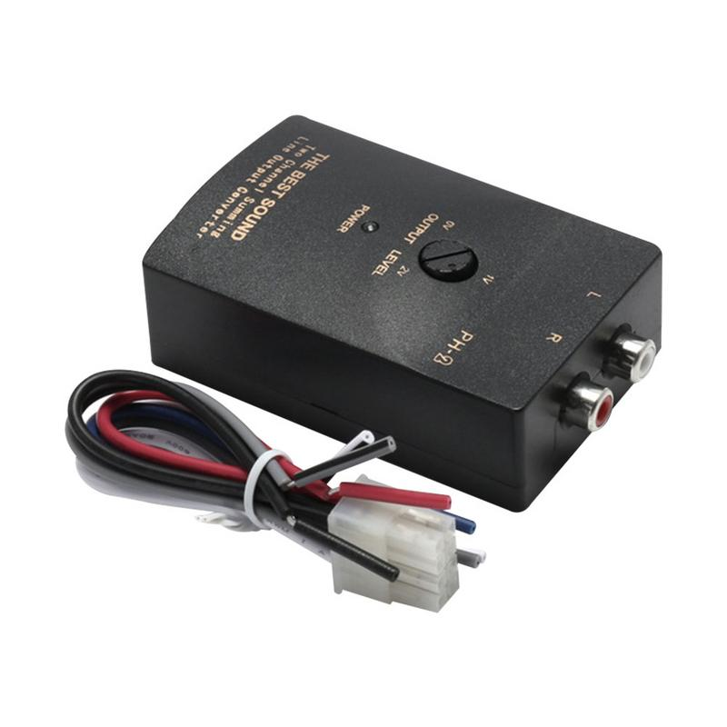 Universal Car Stereo 2-Channel Line 50W Adjustable Audio Converter Amplifier Adapter Output RCA Eliminate Current Noise