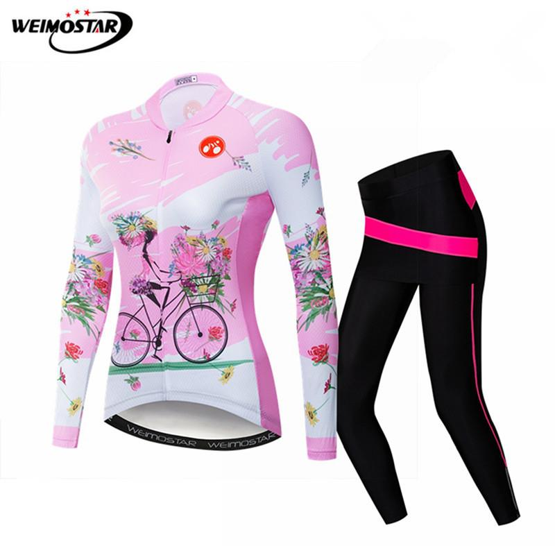 Weimostar Autumn Pink Cycling Clothing Women Team Sport Cycling Jersey Set Mountain Bike Clothing Quick Dry Bicycle Jersey Kit