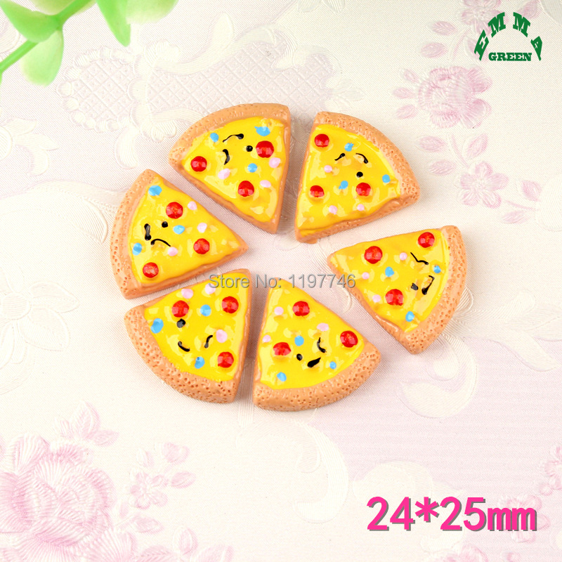 Cute Kawaii Resin Cabochons Accessories 25mm Pizza Sumiuated Food Cabochon Button Hair Bow Accessories DIY Embellishments 10pcs in Beads from Jewelry Accessories