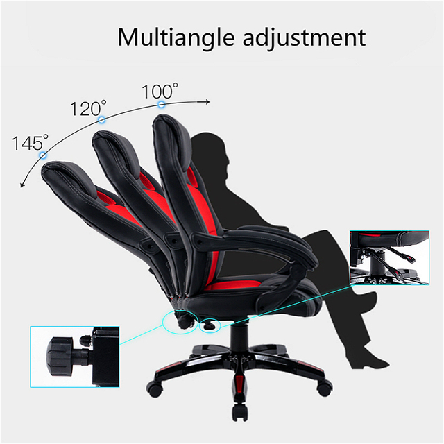 Simple Style Office Chair Multi-function Lifted Rotated Computer Chair Fixed Armrest Household Reclining Leisure Gaming Chair