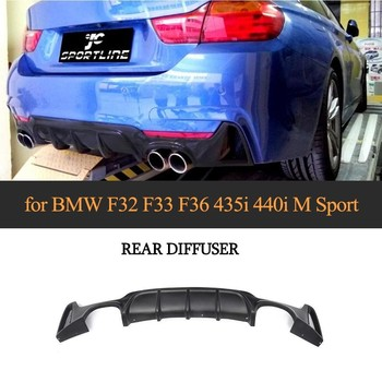Diffuser For BMW F32 F33 4 Series M Sport Only 2014-2017 435i 420i Cabriolet 4 Outlet ABS Black Primer rear bumper lip spoiler image