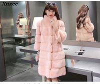 Xnxee Fashion Slim Faux Fur Coat Winter Solid Plaid Fur Slim Vintage Full Pelt Casual Long Down Hood Jackets 2018 Nobel Outwear