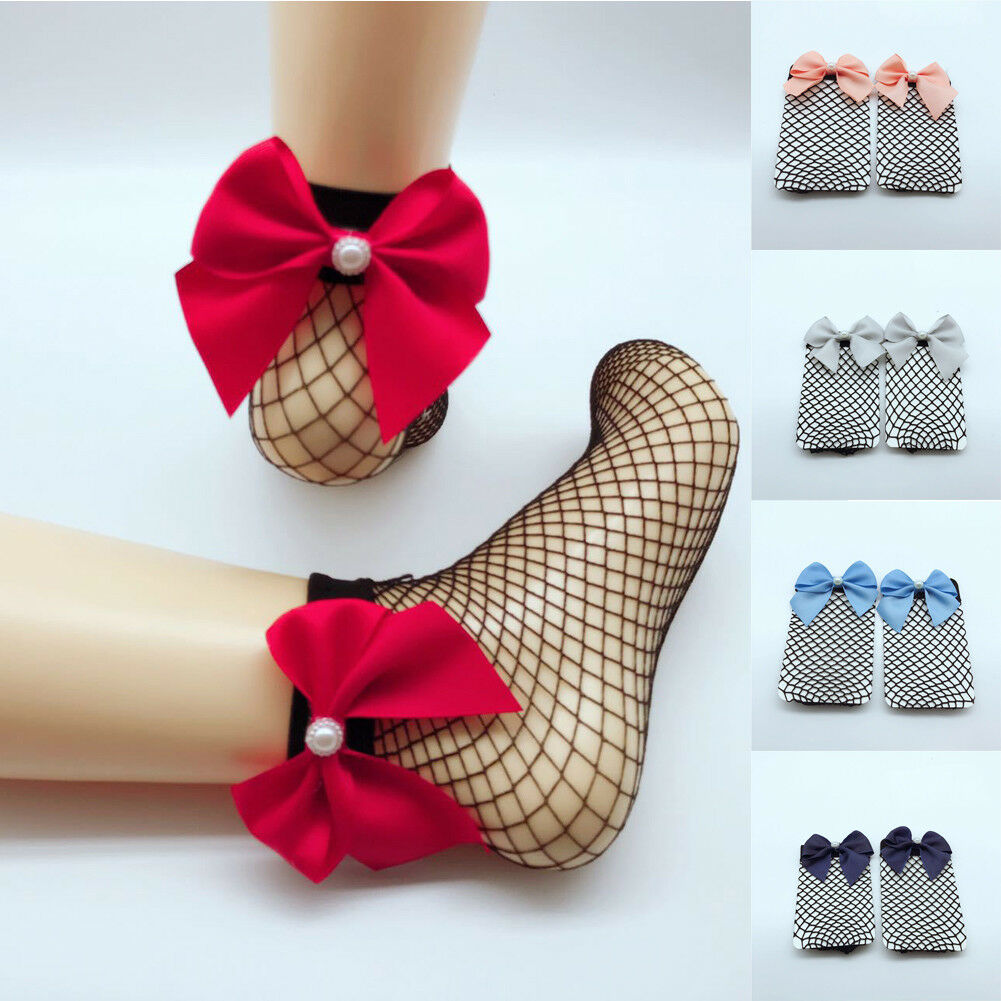 New Fashion Mesh Hollow Women Ruffle Fishnet Ankle High   Socks   Butterfly-knotted Mesh Lace Fish Net   Socks   Sexy Soft Bow   Socks