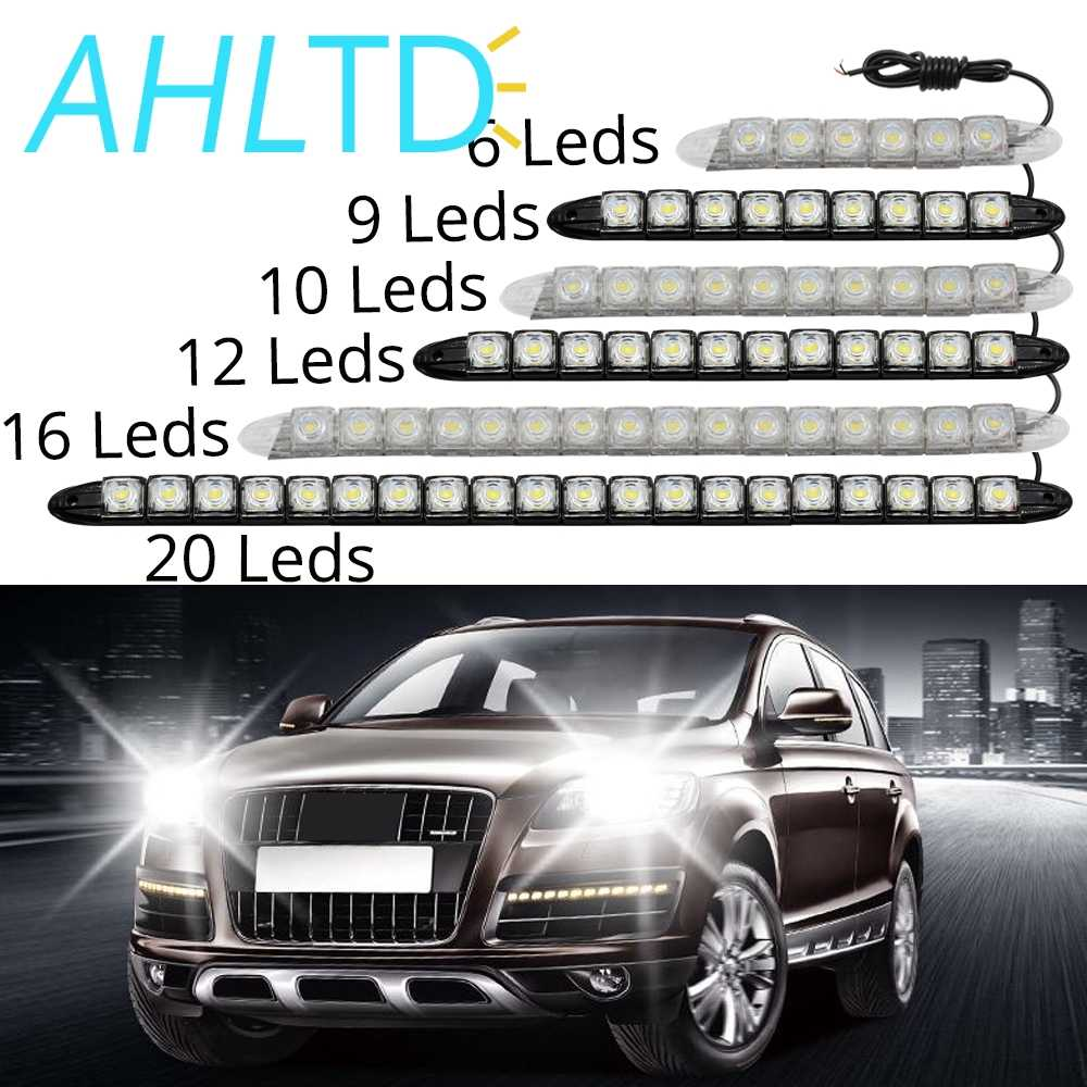 1X Flexible 6/9/10/12leds COB DRL Daytime Running Auto Fog Light Adjust IP67 Waterproof Lamp High Bright Car Styling LED DC 12V