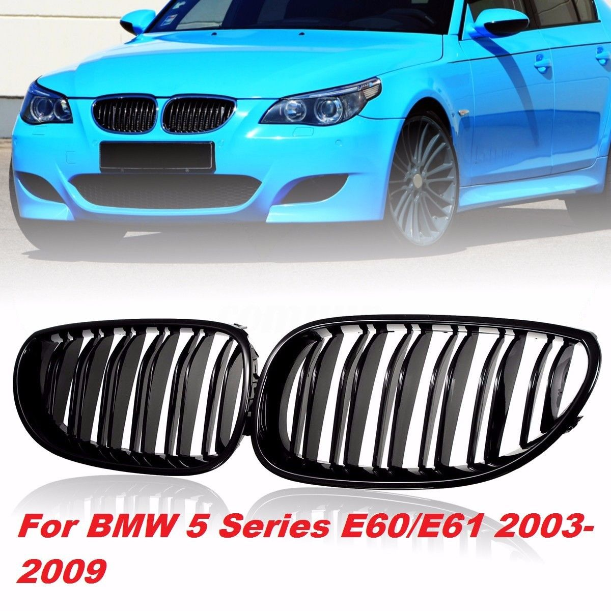 2pcs Front Kidney Grilles Grill Gloss Black ABS Double Line Grille For <font><b>BMW</b></font> E60 <font><b>E61</b></font> 5 SERIES 2003-2009 image