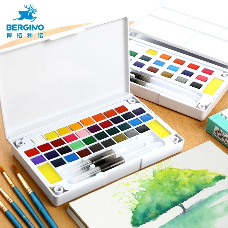 18/24/36 Colors Portable Travel Solid Pigment Portable Watercolor Paints Set With Watercolor Brush Pen For Painting Art Supplies