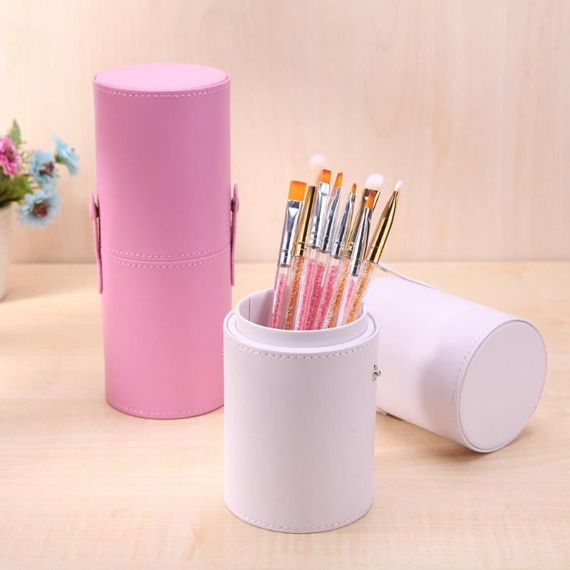 Portable Makeup Beauty Brush Cup Box Professional Storage Empty Holder Double-Ring Cosmetic Makeup Cup Accessories Tool 5 Colors