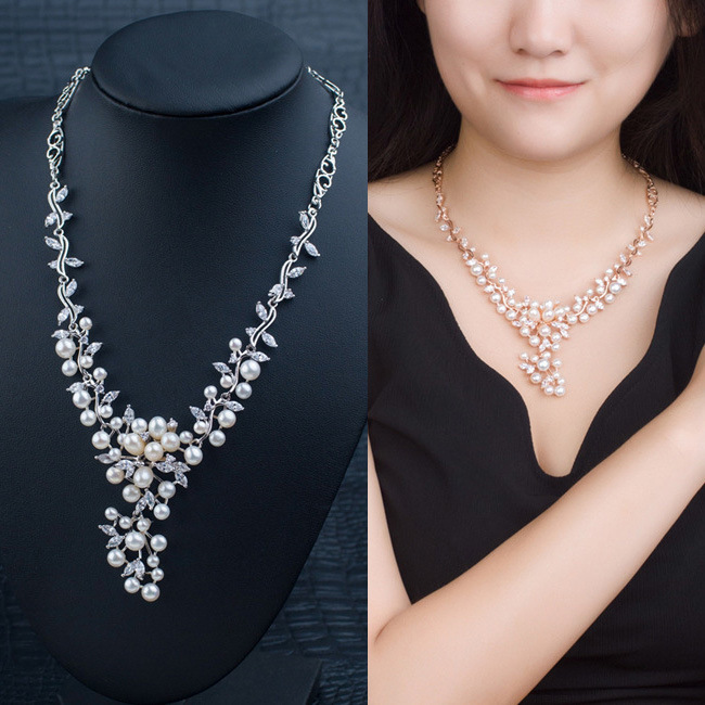 Natural Pearl Half Silver Zircon Flower Vine Temperament Banquet Necklace Build Full Dress Ornaments half placket pearl beading tie cuff dress page 5