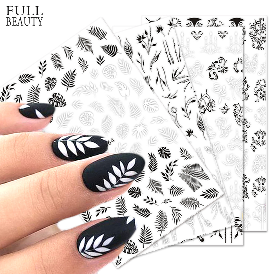 1pcs Stickers For Nails Designs White Black Flower Leaf Linear Manicure Sliders 3D Nail Art Decorations Sticker Decal CHF564-573