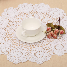 1pc Handmade Crochet Doily Table Mat Round Pure Cotton Placemat Flower Coaster 37cm for Kitchen Decoration