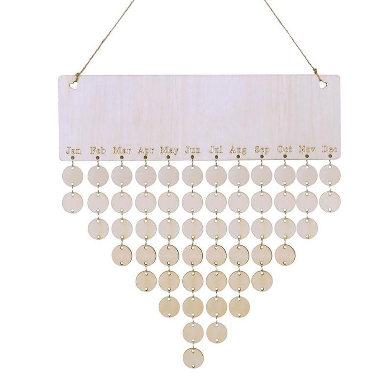 DIY Wooden Family Friends Date Mark Sign Hanging Blank Calendar Board Decor