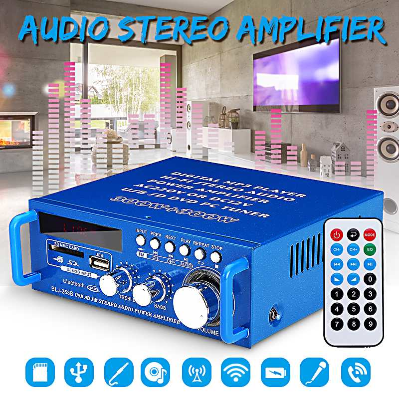 doble CA, 24 V Yyooo Amplificador de placa de subwoofer digital de 2.1 canales