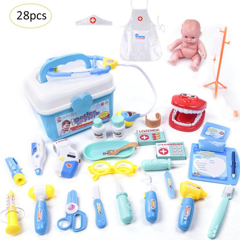 Children Pretend Play Doctor Nurse Toy Set Portable Suitcase Medical Kit Kids Educational Role Play Costume Educational Toys