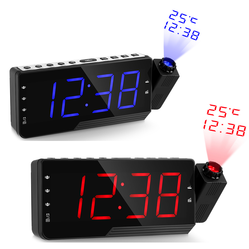 Digital Radio Alarm Clock Projection Snooze Timer Temperature Led Display Usb Charge Cable 180 Degree Table Wall Fm Radio Clock