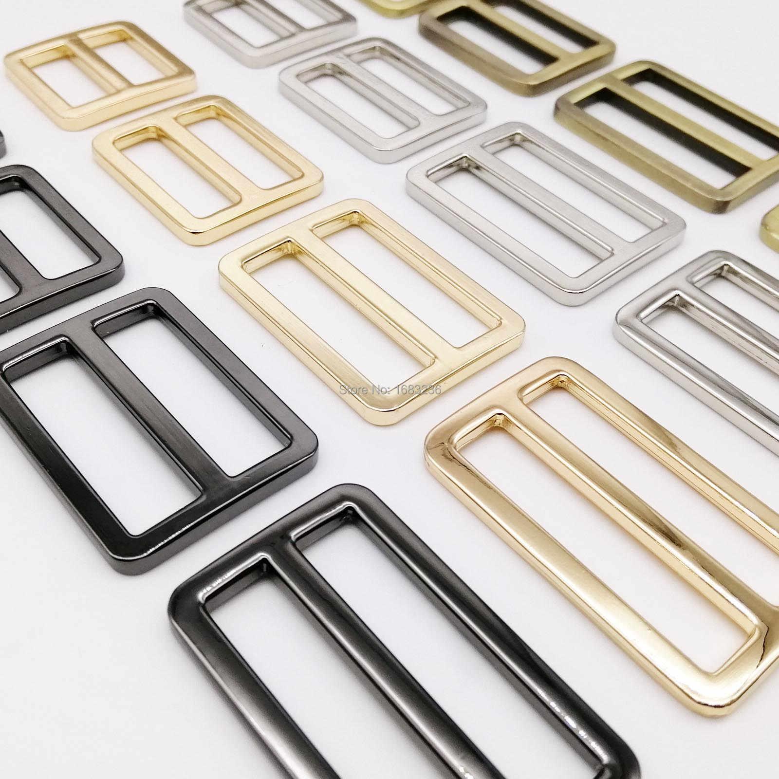 DIY โลหะ Heavy Duty ความหนาหนังกระเป๋าเข็มขัด Web สี่เหลี่ยมผืนผ้าปรับ Tri-Glide หัวเข็มขัด Slider LOOP O D แหวน