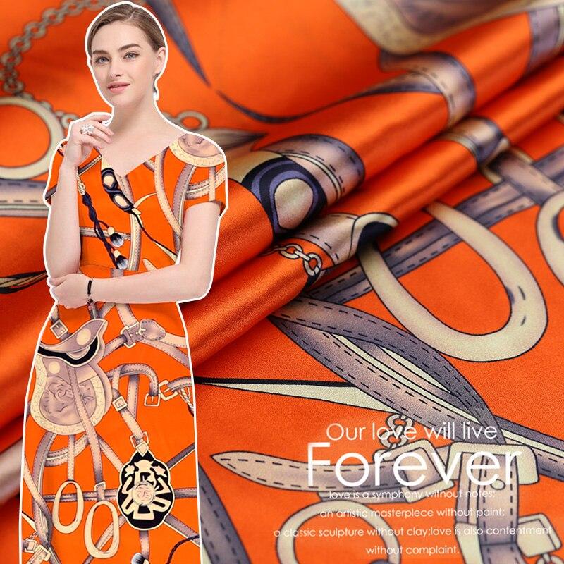 Aime le cheval chaînes peinture numérique soie naturel imprimé stretch satin tissu pour robe chemise tissu au mètre lumineux tissu bricolage