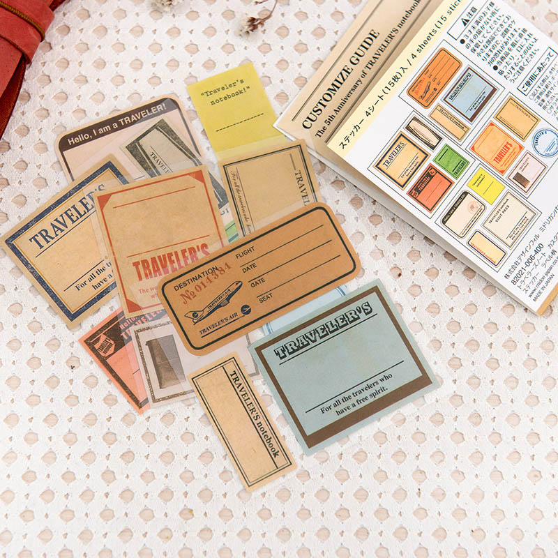 15Pcs/Set Vintage Stamp Sticker Paper Adhesive Stickers Travel Journal Label Sticker For Kids Scrapbooking Diary Photos Albums