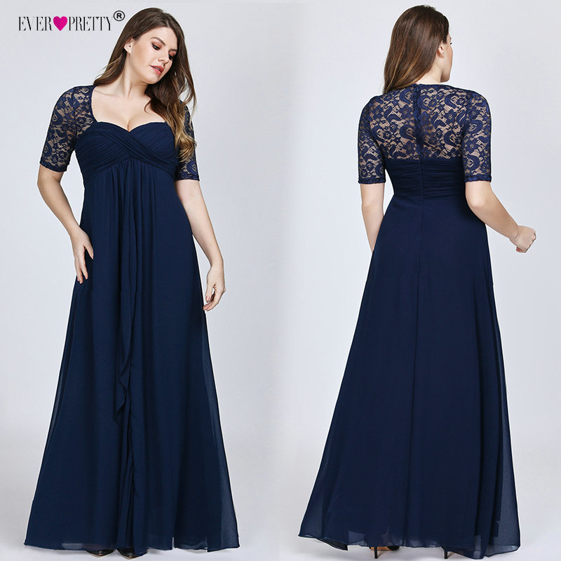 Plus Size Evening Dresses 2019 Ever Pretty New Year Short Sleeve Lace Back Navy Blue Sexy Chiffon Long Wedding Guest Dresses