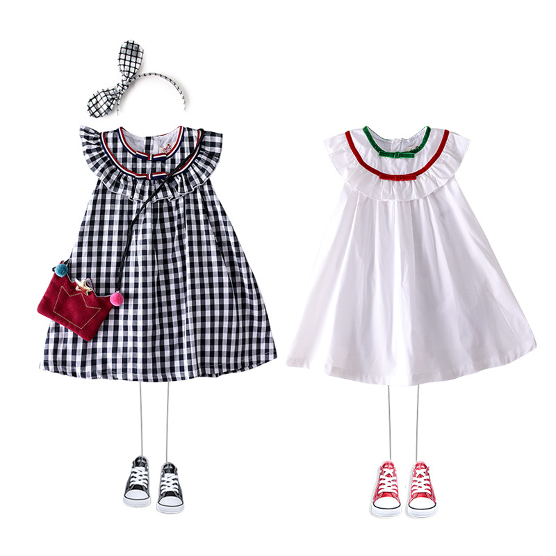 Summer 2019 New Girl Pure Cotton Black and White lattice Doll Tongqun  hoodie dress girl
