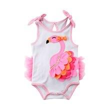 Фламинго новорожденная девочка мультфильм один цельный купальник купальный костюм плавательный костюм 0-18 м