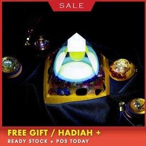 AURAREIKI Luminous Orgonite Pyramid FengShui Reiki Chakra Healing MineralCrystal Improvement Academic Resin Decorative Craft