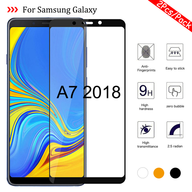 1 2Pcs/Pack A7 2018 Glass for Samsung Galaxy A7 2018 A750 SM A750F Tempered Glass On the Samsun Glaxy A 7 2018 A72018 Cover Sklo
