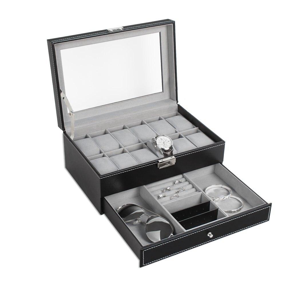 Boîte de montre Double couches en daim à l'intérieur de la boîte de rangement de bijoux montre affichage fente conteneur bijoux organisateur