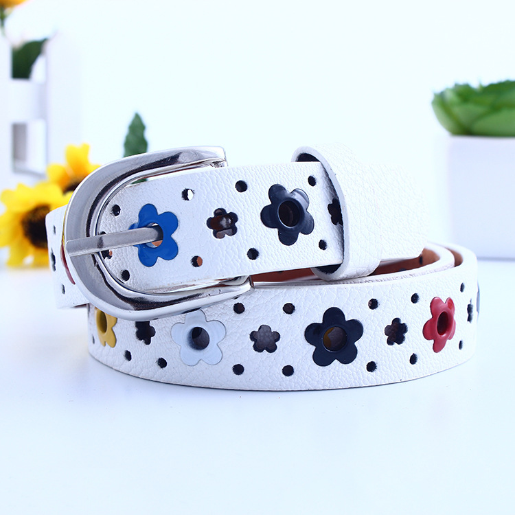 Hollow Butterfly Flowers Children Lace Belt Boys Girls Leather Belts Women Waistband New Children's Belt Flower Hollow 95cm