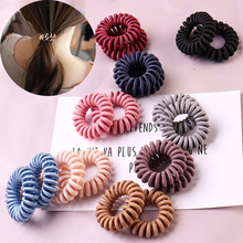 Fashion spiral hair ring High Elasticity Telephone Coil rope Solid  band Girl Scrunchy 2019 gum rubber Hair accessory