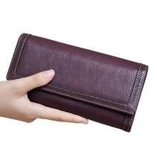 Купить с кэшбэком Luxury Genuine Leather Wallet Women Wallets Coin Purse Long Hasp Zipper Money Pocket Clutch Bags Card Holder Carteira Feminina