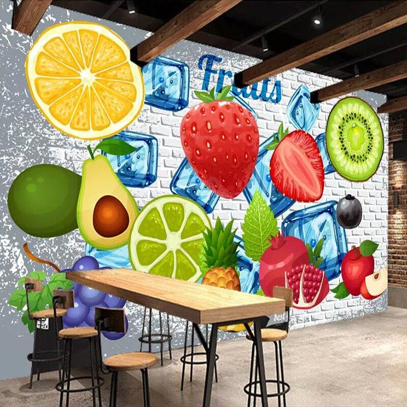 Custom 3D Photo Wallpaper 3D Brick Wall Lemon Strawberry Fruit Shop Restaurant Milk Tea Shop Background Wall Decor Mural Modern