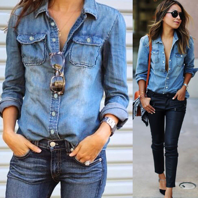Women Fashion Blue Denim Shirts Women Girls Autumn Casual Long Sleeve Solid Blue Two Pockets Cotton Blend Tops